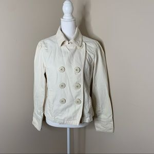 AMERICAN EAGLE Off White Button Up Peacoat